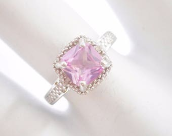 Pink Sapphire Ring, Sapphire Ring, Sterling Ring, Rings, Sterling Silver .75 Ct Cushion Cut Created Pink Sapphire Ring Sz 6.75 #2817