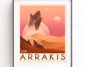 Arrakis Dune. Frank Herbert. Retro travel poster. Science fiction book. Cult classic. Spice space. Fantasy geek art. . Sandworm gift