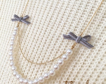 Free shipping! Pearls with Twin Ribbons Necklace