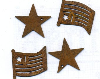 Rusted Tin Embellishments- Stars and Stripes - by Homespun Samplar 4 Per Package