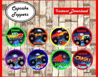 Monster Truck cupcakes toppers, printable Monsters Trucks party toppers, Monster Truck toppers