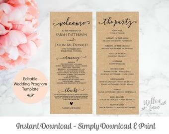 Printable Wedding Progam, Rustic Ceremony Template, Instant Download Editable PDF, WLP271