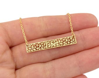 Personalized Gold Bar Name Necklace, Custom Bar Name Necklace, Lace Bar Necklace, Triangle Fussion Bar Name Necklace, Mothers Day Gift
