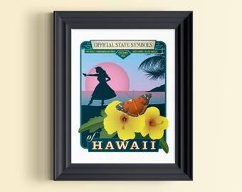 Hawaii art | Hawaiian decor | Hawaiian gifts | Hawaii art print | Hawaii wall decor | Hawaii souvenir | Hawaii home decor | Hawaiian skyline