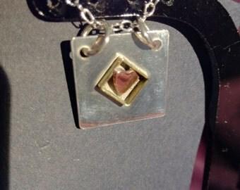 Heart in a box pendant (silver)
