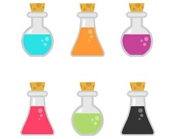 Potion Bottles  Clip art Set, Chemical, Laboratory, Magic, Collection