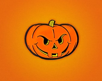 Angry Jack-O'-Lantern Halloween Pumpkin enamel pin