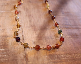 Rosary Chain Multi Color Choker