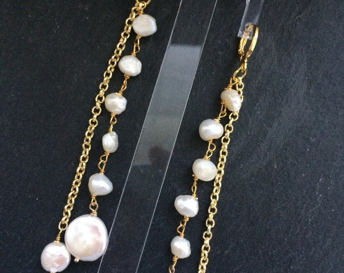 Featured listing image: long earrings gold and freshwater pearls