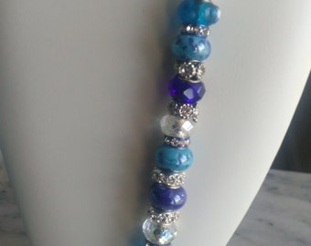 Blue and Crystal Bead Bracelet