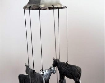 Vintage Metal Bell With Chimes In Shape of Cow