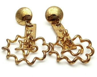 Intricate and detailed Gold tone Metal Earrings Vintage from the 90s Steampunk mechanical Curls
