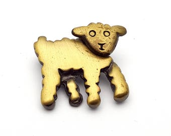 Movable Head Lamb Brooch Gold tone Metal Vintage from the 90s Signed Kactus Paris Handmade Farm Farming Pin Sheep