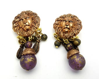 Clip On Lion Dangle Earrings Copper and Purple Plastic Drop Earring Vintage 80s Lightweight Safari Vacation Trip Africa Jungle King