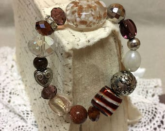 Bead Bracelet Faceted Clear Crystals Goldstone Rondelle Bohemian Gypsy Wild at Heart Boho Rhinstones Silver Balls Brown Copper White