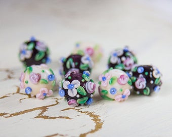 Flower beads. lampwork beads. Glass beads. Beads for jewelry. Glass beads. Beads handmade.