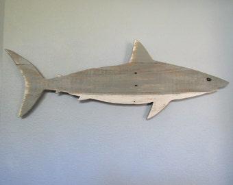 Rustic Pallet Wood Shark Wall Hanging