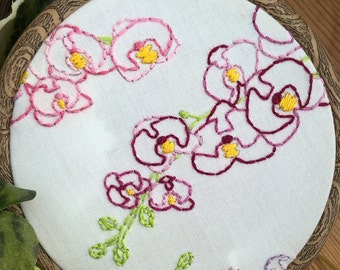 Orchids floral hand embroidered hoop frame