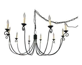 Vintage Style Black Wrought Iron Chandelier