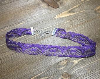 Lovely purple lace choker | handmade lace choker | purple  choker