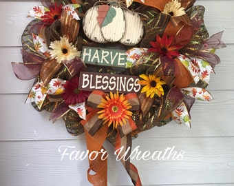 ON SALE, Harvest Blessings, Fall Wreath, Deco Mesh Wreath, Pumpkin, Autumn Wreath, Gift for her, Gift for Mom, Fall Deco Mesh Wreath, Sale