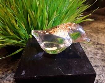 Small hand blown Glass Songbird by Randsfiord Glasverk with Label.