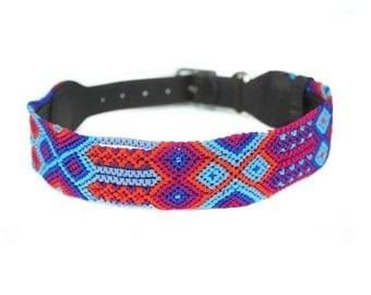 Fiesta Blue Dog Collar - Red/Orange/Blue