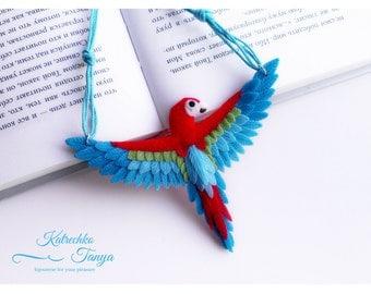 Parrot red ara. Parrot pendant jewelry. Tropic exotic  bird. Parrot art. Parrot necklace.