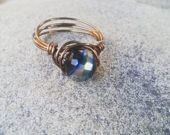 wire wrapped black bead ring