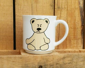 vintage I'm A Bear Without My Coffee MUG, Recycled Paper Products mug, Japan, P.Boynton