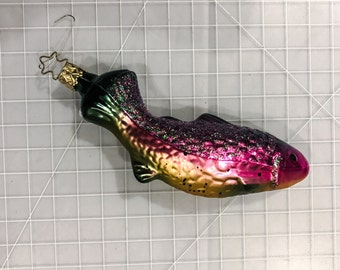 Fish Christmas Ornament - 1990s - blown glass