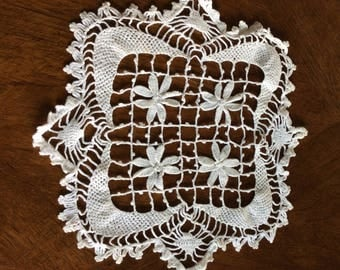 Vintage hand crocheted doily-white-flowers-antique-home decoration