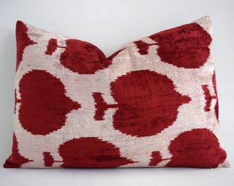 SALE! Handwoven Silk Luxury Red Ikat Pillow Cover Velvet Ikat Lumbar Pillow Decorative Pillows Red White Pillow Sofa Pillows Designer pillow