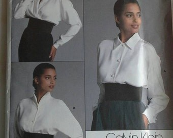 Size 12 Calvin Klein blouse pattern 1981 English,French sewing instructions