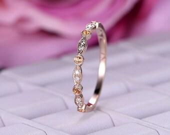 Diamond matching band in 14k rose gold/Citrine wedding ring/art deco marquise shaped/Round cut diamond ring/Milgrain edge anniversay ring