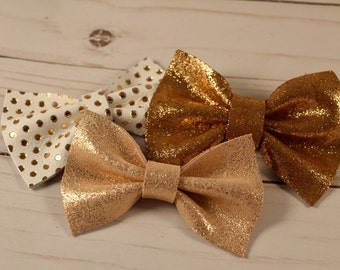 Rose gold genuine leather bow