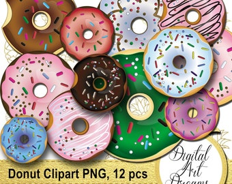 Donut Clipart, Doughnut Images, Donuts Clip Art PNG, Chocolate Pink Doughnuts, Digital Art, Instant Download, Bakery Graphics Printables