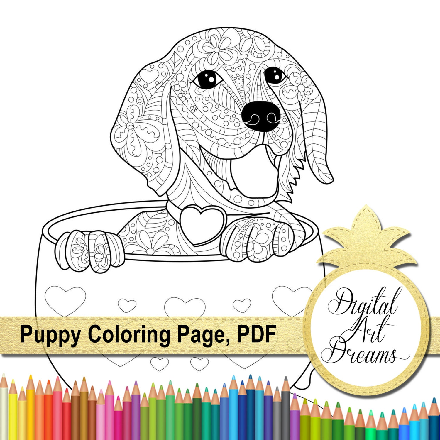 Puppy Coloring Pages Pdf : Puppy coloring page a golden retriever printable