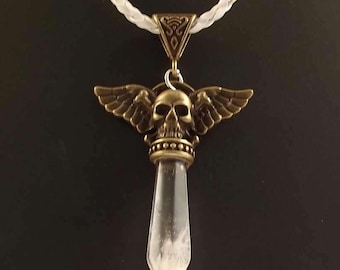 Winged Skull Necklace with gemstone point