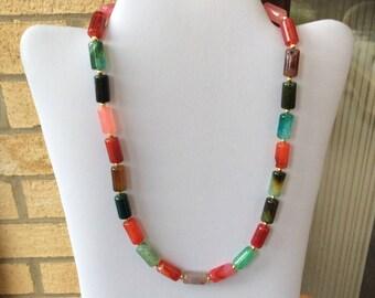 Gemstone beaded necklace, multi colour stone necklace, agate necklace, gold toned necklace, pretty necklace, summer necklace