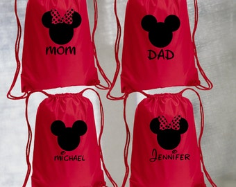 Minnie or Mickey Drawstring Bag, with Personalized name, Disney Bag, Minnie Drawstring Bag, Vacation bag, Family bags, Mickey Drawstring Bag