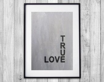 Tue Love quote, painted die cut letters artwork, concrete look, painting, wall art, décor