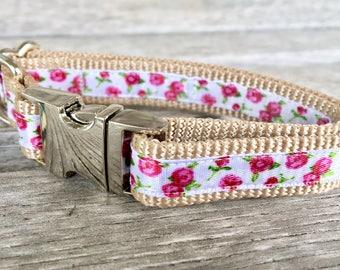 "White Floral 5/8"" Dog Collar, Pink Flower Dog Collar, White Rose Dog Collar, Pink Rose Dog Collar, Feminine Dog Collar"