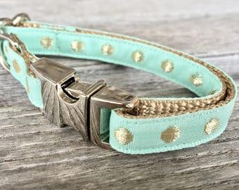 Metallic Dot Teacup Dog Collar, Gray Teacup Dog Collar, Choose your color, Blue Dog Collar, Teacup Dog Collar, Blush Pink Dog Collar,