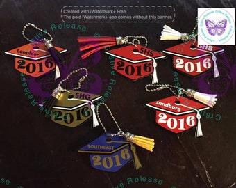 "Graduation Cap Keychain | Bag Tag | Personalized Keychain | 3"" Graduation Cap Keychain"