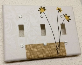 Triple Toggle  Light switch cover plate yellow flowers