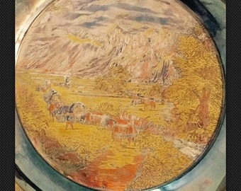 """Currier & Ives Limited Edition """"Rocky Mountains"""" ALL Metal Stunning Damascene Plate"""