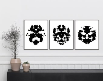 "Rorschach Print set 3 8x10"", Ink Blot Print, Abstract Poster, Printable Art, Black and White, Home Decor, Minimalist Art, Ink Blot Art"