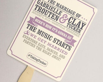 Rustic Hatch Show Print Inspired Wedding Program Fan