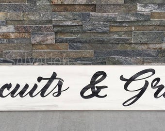 Biscuits & Gravy Sign - Wood sign - sign - farmhouse - cottage chic - rustic - home decor - decor - kitchen - southern